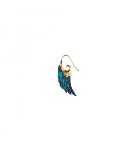 Angel wing big earring - multi blue - gold