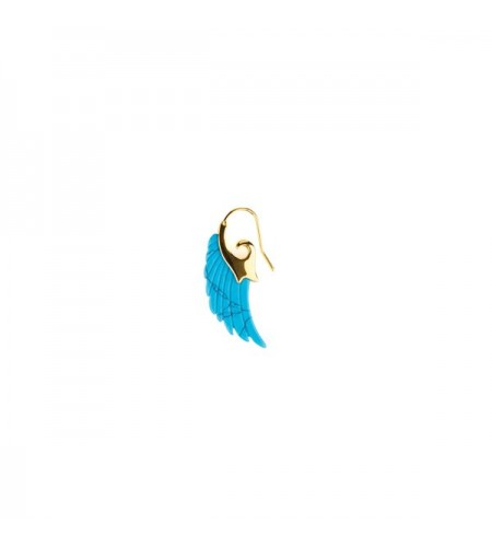 Angel wing big earring - turquise - gold