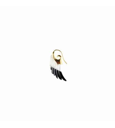 Angel wing earring big dip dyed - gold