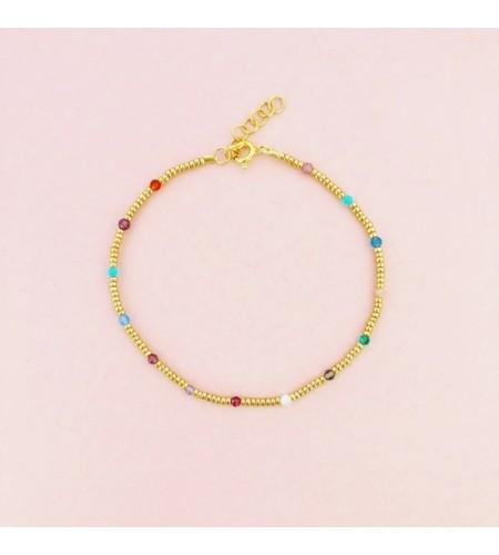 Armbånd - Multifarvede halvædelsten og guldperler