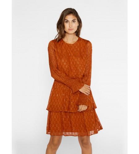 YAS Kjole - Adele LS Dress, Umber/Gold Lurex