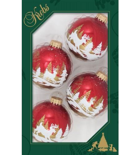 Røde julekugler med rensdyr.