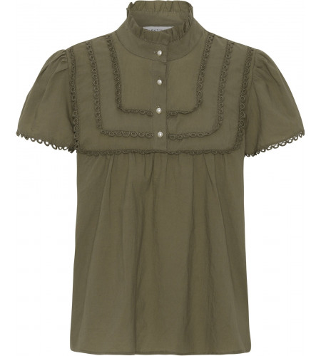 Continue - Isabella SS Blouse - Army - hvid