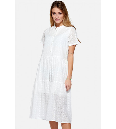 Noella Lipe Dress Short Sleeve Cotton Broderie White