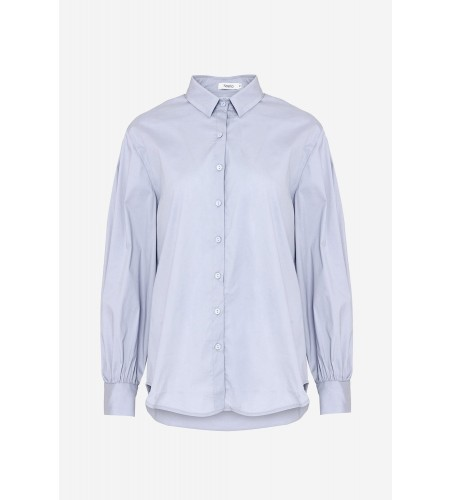Noella Tate Shirt, Cotton Poplin Solid Grey Blue