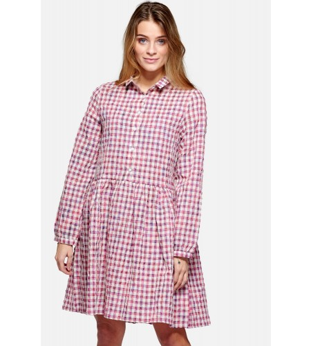 Noella Vora Dress Cotton Neon Pink Check