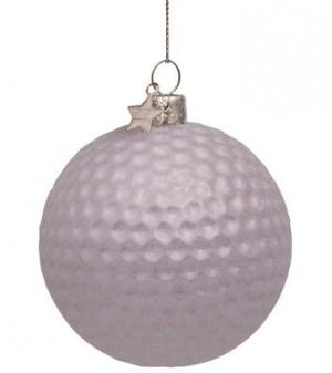 Ornamentglas hvid golfbold H8cm