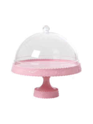 Cake Stand with Dome - Lyserød