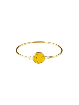 Marble bracelet round - yellow  - gold