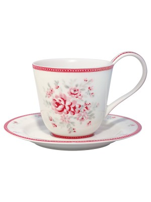 Cup & saucer Flora white