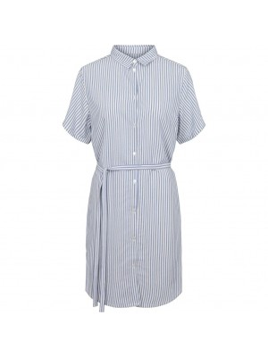 Bertha Nella Shirt Dress - Snow White with Blue Stripes
