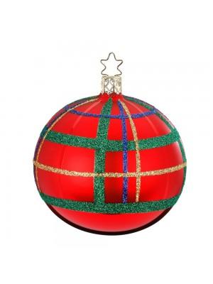 Julekugle i rød med tern.