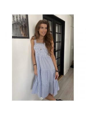 Continue - Beth Stripe Dress - Blue/White