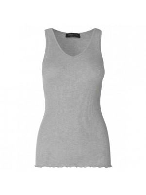 Rosemunde silketop - light grey melang - black