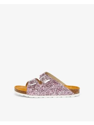 Twin strap sandal - pink glitter