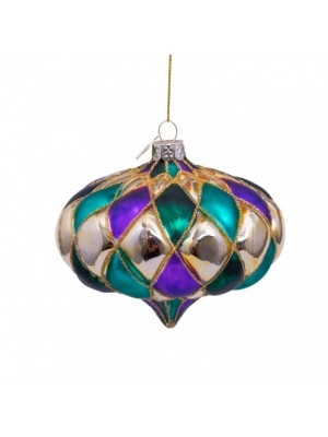 JULEPYNT I GLAS - PURPLE/GREEN DIAMOND SHAPES