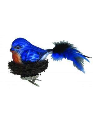 Fuglblå med rede af grene glaspynt 20 cm