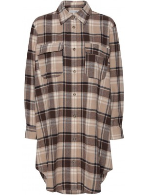 Continue - Gila Long Shirt - Brown Check