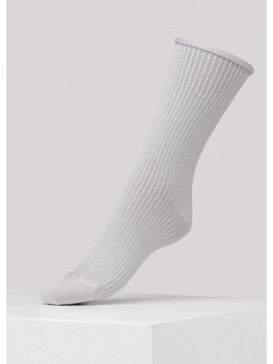 Malene rib sock - sølv