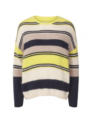 Nina jumper - sand - rosa - stribet