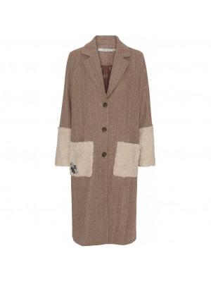 Calvin coat - Harringbone camel/off white