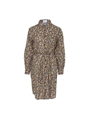 Noella Anika Shirt Dress Cotton Camel Mix Flower Print