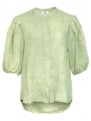 Tiffany Clara Button Blouse Linen, White - Light army