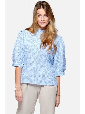 Noella Vera Blouse Cotton Sky blue check