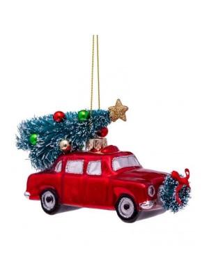 Mundblæst juletræs bil 8 cm.