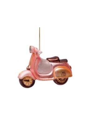 Ornament glas lyserød scooter H10cm