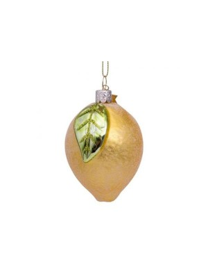 Ornament i glas gul citron m / blad H8cm
