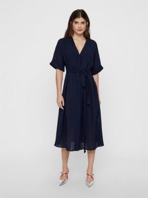 YAS Kjole - Mika SS Midi shirt Dress, Navy Blazer