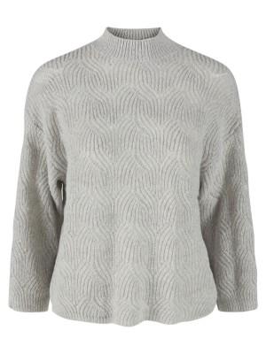 YAS Yasalma Strik - Light Grey Melange - Blå