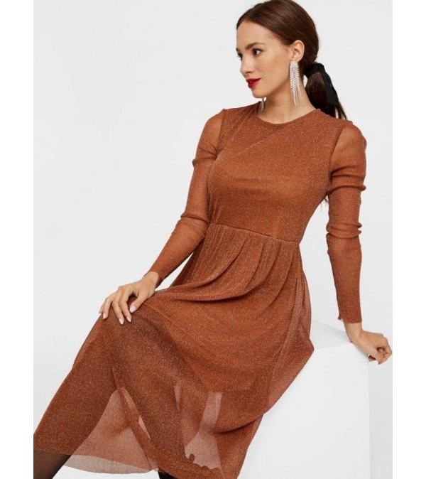 Y.A.S - Jessa LS Lurex Midi Dress - Caramel Café