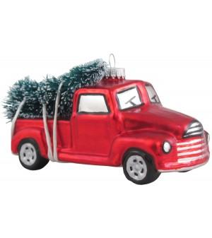 Pickup med juletræ.