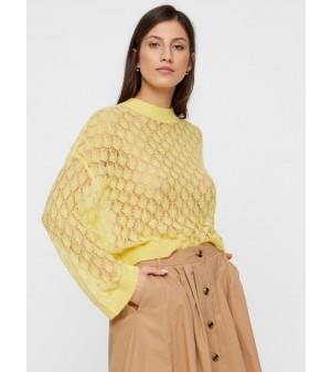 Delvist gennemsigtig strikket pullover - gul - lilla - hvid