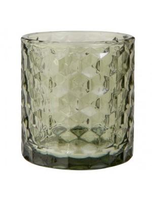 Lygte t/fyrfadslys grøn glas