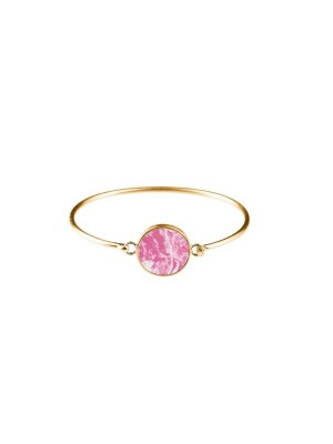 Marble bracelet round - pink - gold