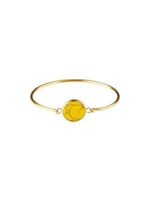 Marble bracelet round - yellow  - gold