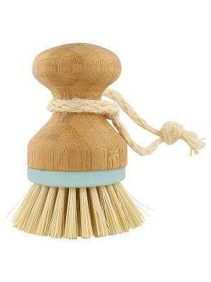 Dishwashing brush Bamboo w/pale blue rim small