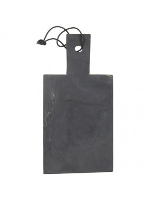 Tapasbræt sten m/sort lædersnor