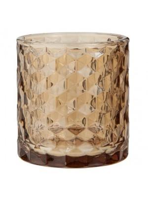 Lygte t/fyrfadslys brunt glas