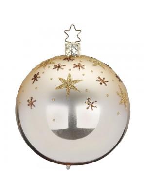 Julekugle med stjerner i glimmer.