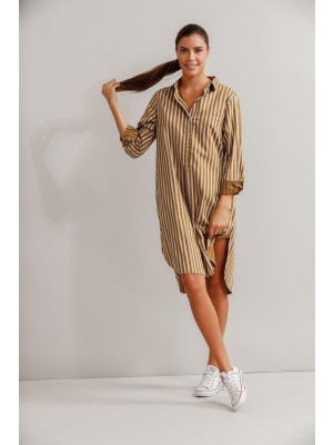 Fortuna Shirt Dress Tobacco Striped
