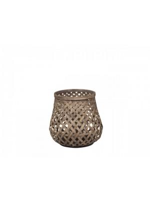 Lanterne i flet bambus - stor