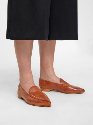 Tracy læder nittede loafers