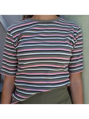 LIBERTÈ - Roberta T-Shirt - Army Rose Stripe