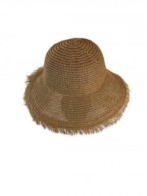 Elle Boho fringe hat  - camel