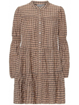 Continue - S Dress - Beige Check