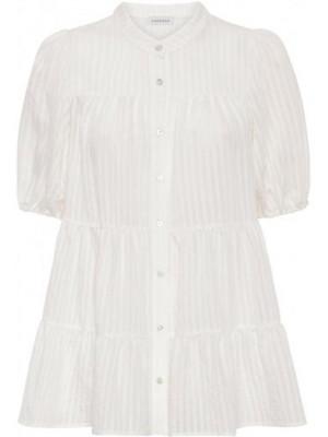 Continue - Sanna Stripe SS Blouse - White